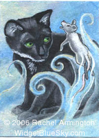 One of a Kind paintings by pet artist Rachel - Ghost Mouse and Black Cat