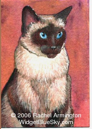 Unique paintings by animal artist Rachel - Dad's Seal Point Siamese