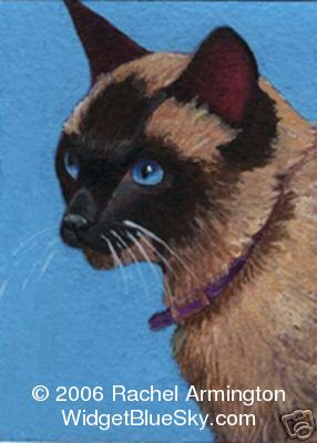 Original paintings by cat artist Rachel - Seal Point Siamese with Baby Blue Eyes