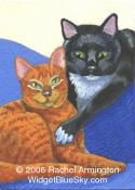 Original Painting by cat artist Rachel - Best Friends