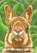 One of a Kind Painting by pet artist Rachel - Godzilla Bunny