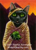One of a Kind Painting by pet artist Rachel - Mummy Cat and Scarab