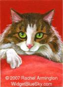 Hand-Made Painting by nature artist Rachel - Maine Coon Cat on Red Pillow